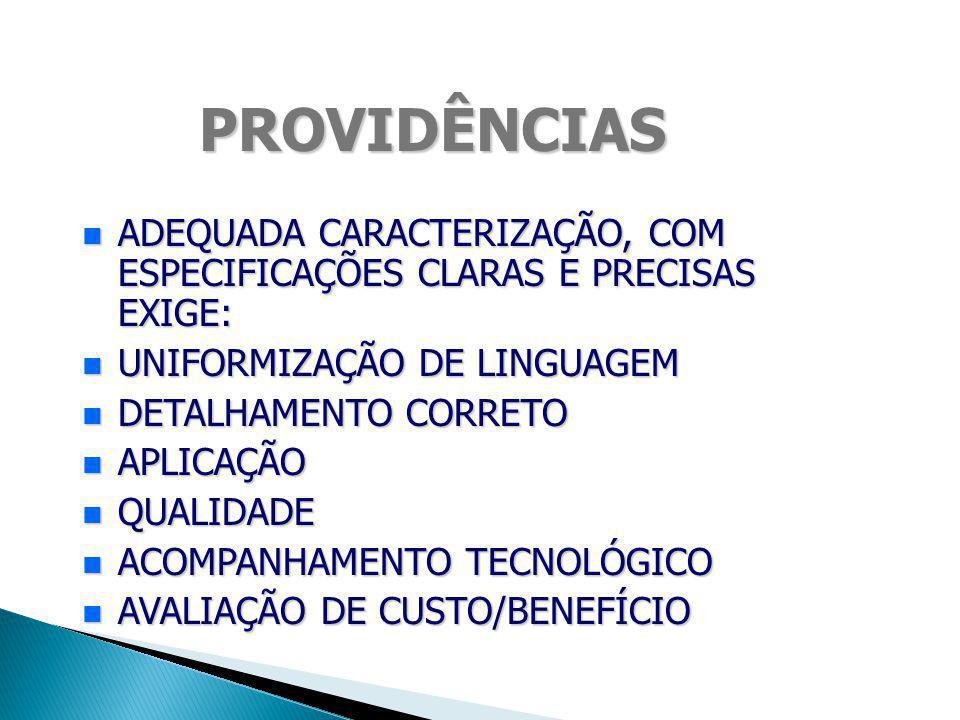 PROVIDÊNCIAS ADEQUADA CARACTERIZAÇÃO, COM ESPECIFICAÇÕES CLARAS E PRECISAS EXIGE: UNIFORMIZAÇÃO DE LINGUAGEM.