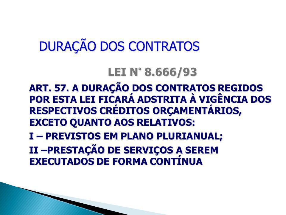 DURAÇÃO DOS CONTRATOS LEI N° 8.666/93