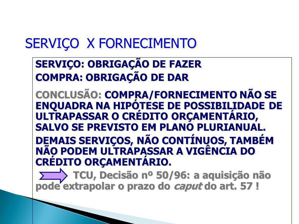SERVIÇO X FORNECIMENTO