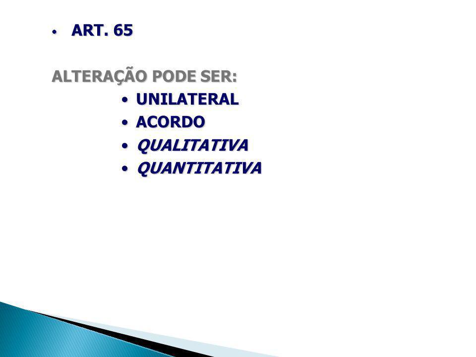 ART. 65 ALTERAÇÃO PODE SER: UNILATERAL ACORDO QUALITATIVA QUANTITATIVA