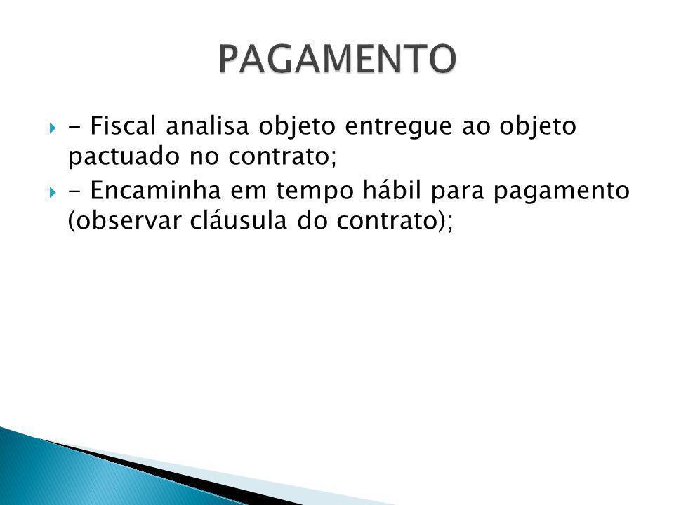 PAGAMENTO - Fiscal analisa objeto entregue ao objeto pactuado no contrato;