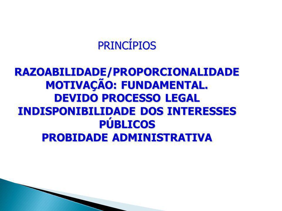 PRINCÍPIOS RAZOABILIDADE/PROPORCIONALIDADE MOTIVAÇÃO: FUNDAMENTAL