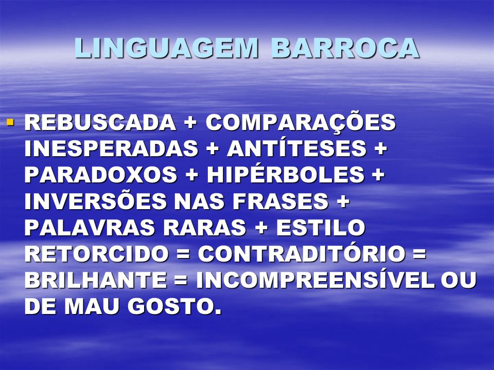 LINGUAGEM BARROCA