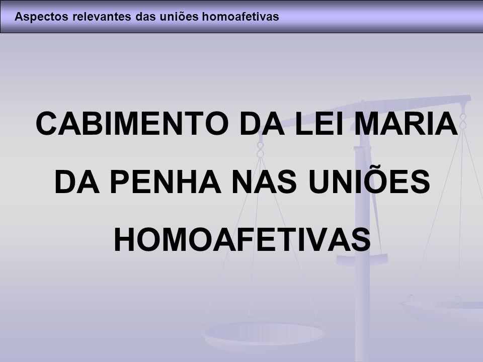 CABIMENTO DA LEI MARIA DA PENHA NAS UNIÕES HOMOAFETIVAS