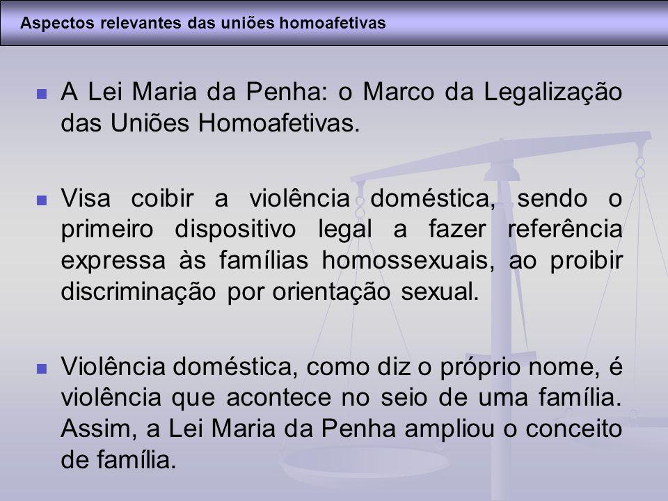 A Lei Maria da Penha: o Marco da Legalização das Uniões Homoafetivas.