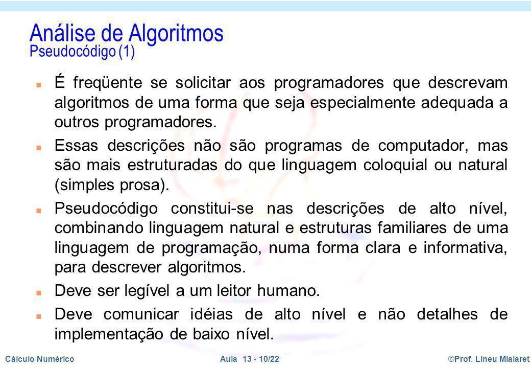 Análise de Algoritmos Pseudocódigo (1)