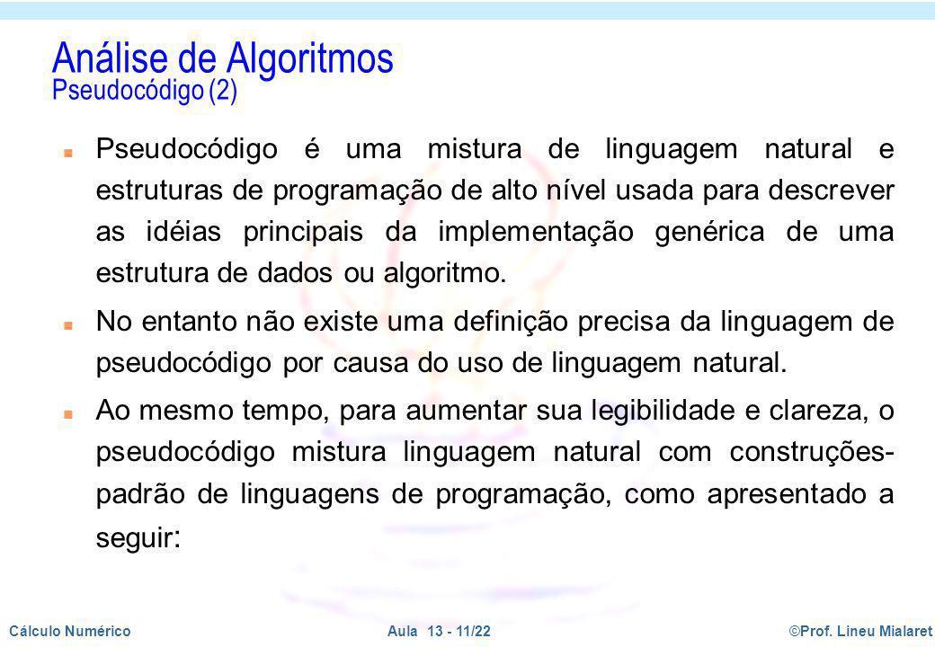 Análise de Algoritmos Pseudocódigo (2)