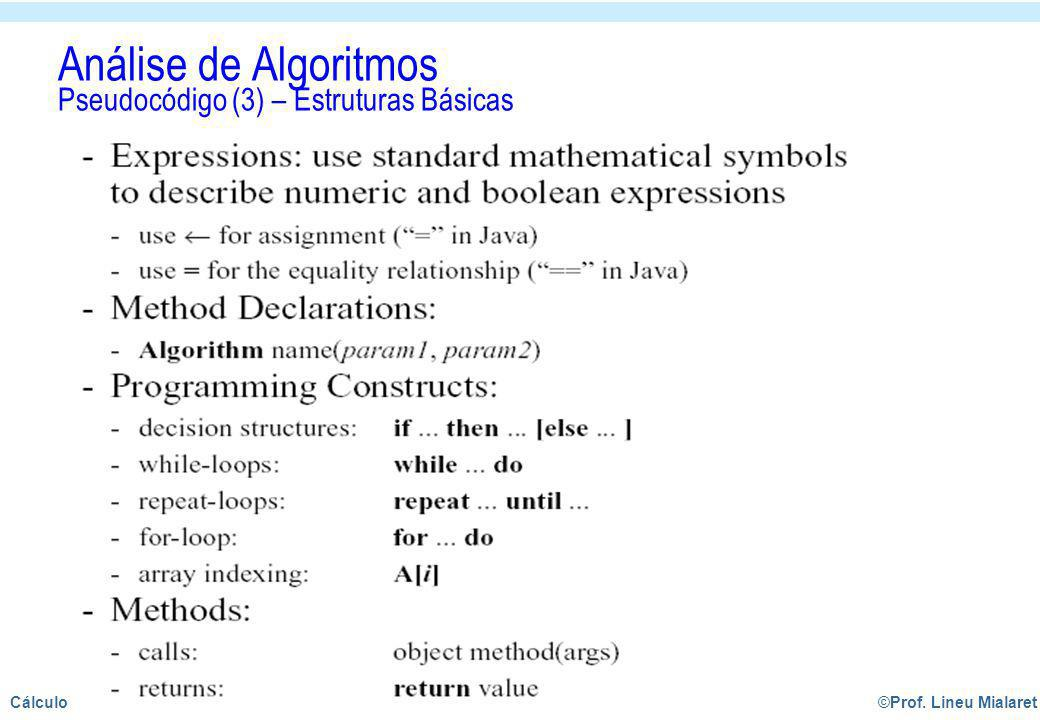 Análise de Algoritmos Pseudocódigo (3) – Estruturas Básicas