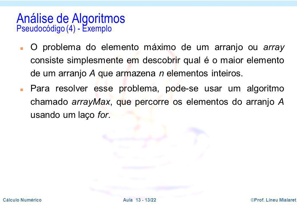 Análise de Algoritmos Pseudocódigo (4) - Exemplo
