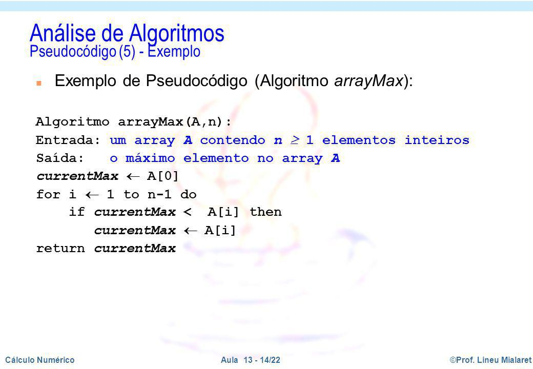 Análise de Algoritmos Pseudocódigo (5) - Exemplo