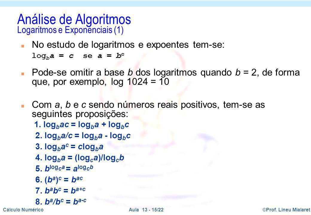 Análise de Algoritmos Logaritmos e Exponenciais (1)