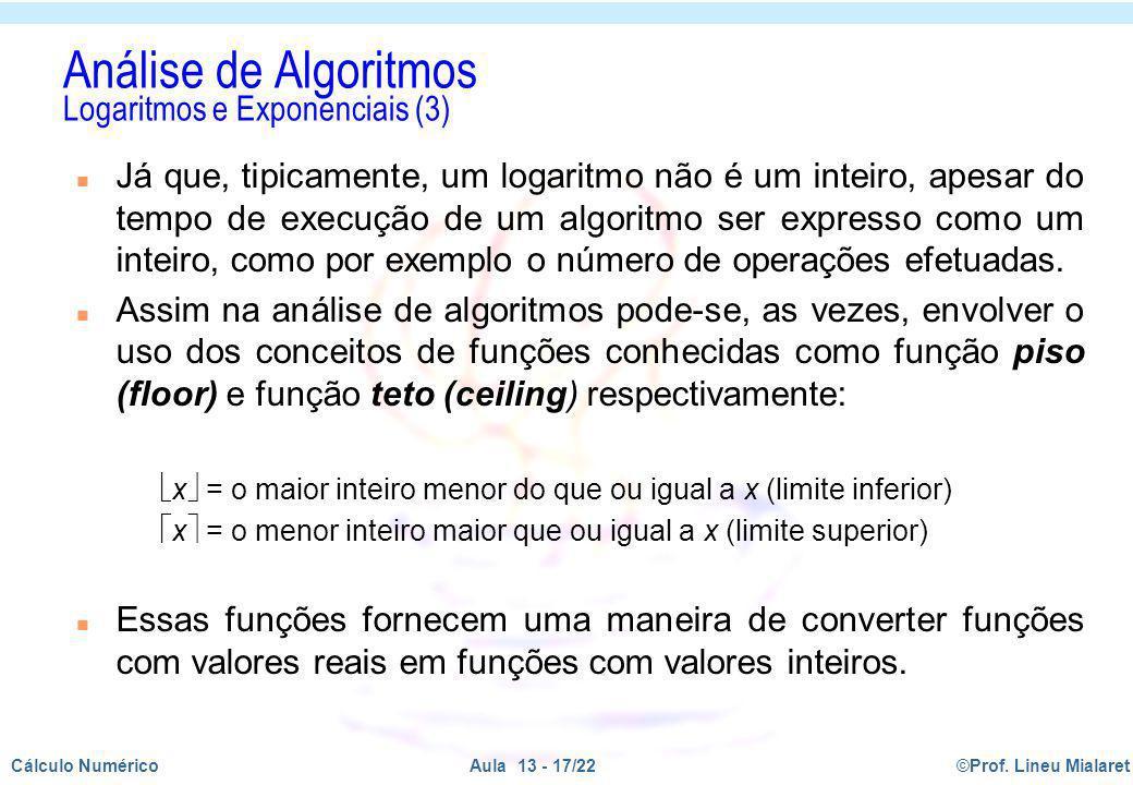Análise de Algoritmos Logaritmos e Exponenciais (3)