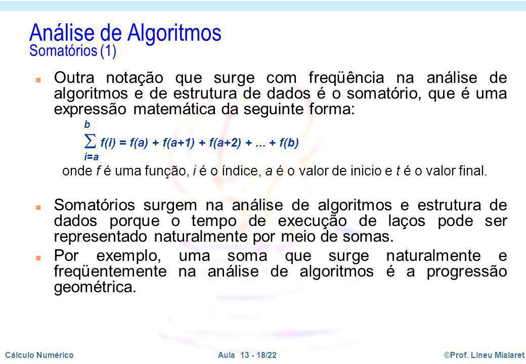 Análise de Algoritmos Somatórios (1)