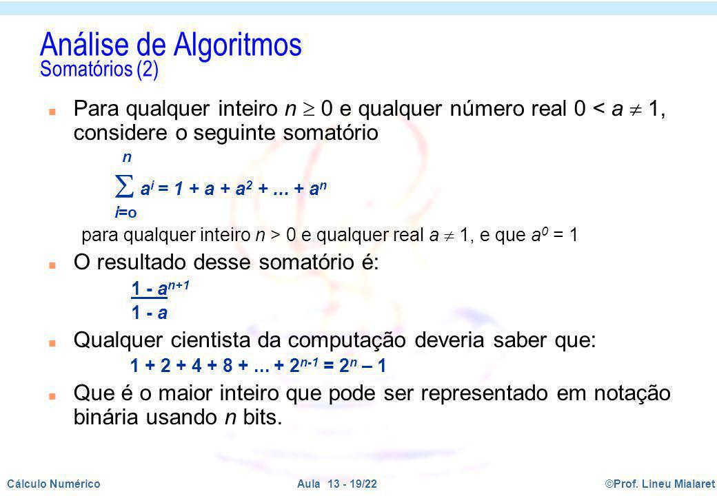 Análise de Algoritmos Somatórios (2)