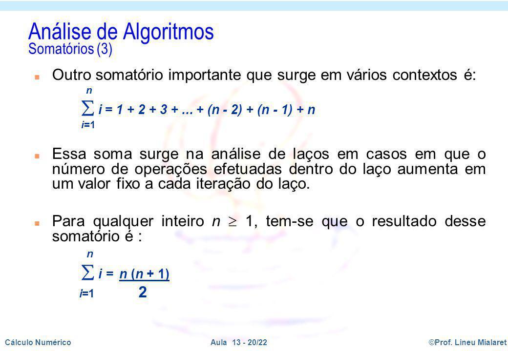 Análise de Algoritmos Somatórios (3)