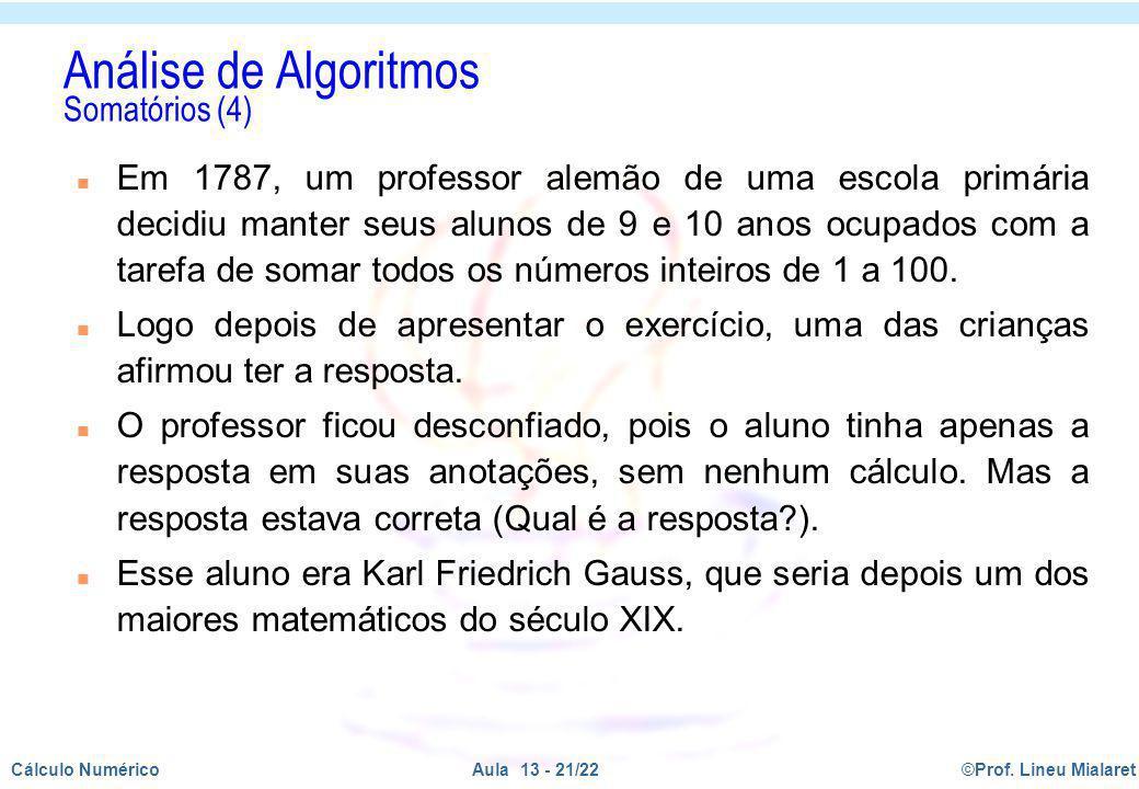 Análise de Algoritmos Somatórios (4)