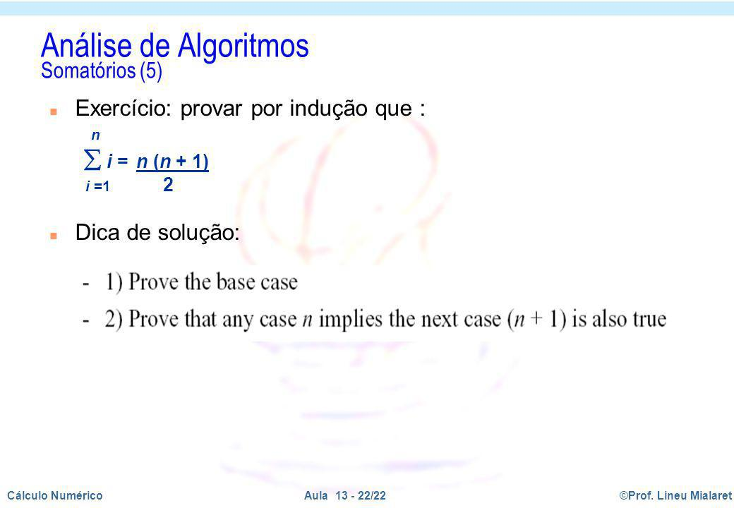 Análise de Algoritmos Somatórios (5)