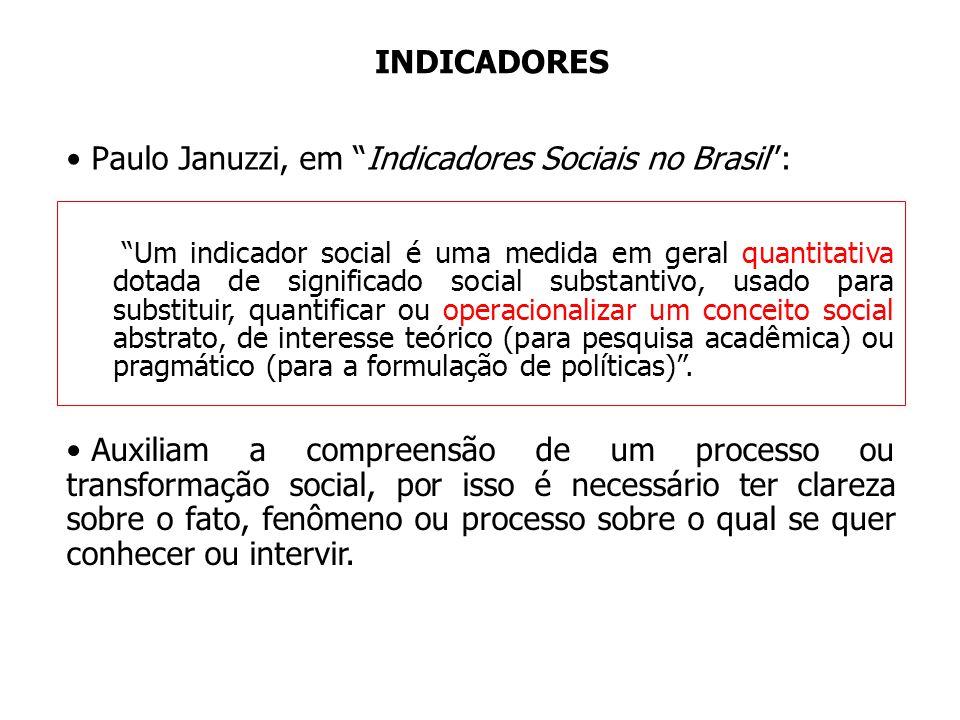 Paulo Januzzi, em Indicadores Sociais no Brasil :