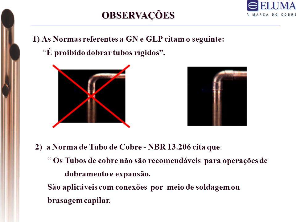 OBSERVAÇÕES 1) As Normas referentes a GN e GLP citam o seguinte: