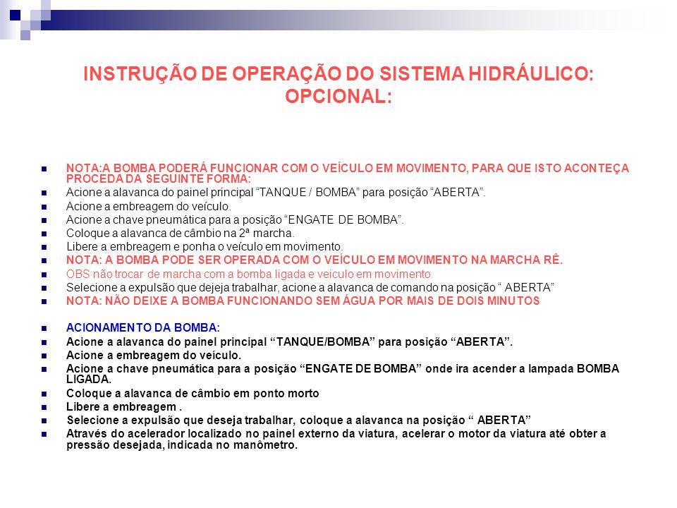 INSTRUÇÃO DE OPERAÇÃO DO SISTEMA HIDRÁULICO: OPCIONAL: