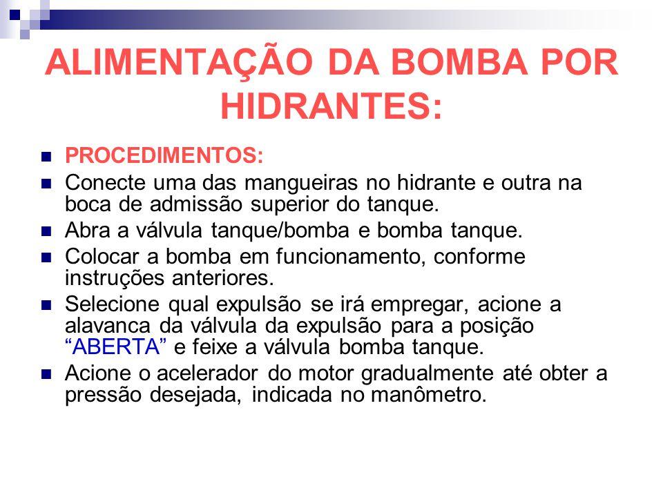 ALIMENTAÇÃO DA BOMBA POR HIDRANTES:
