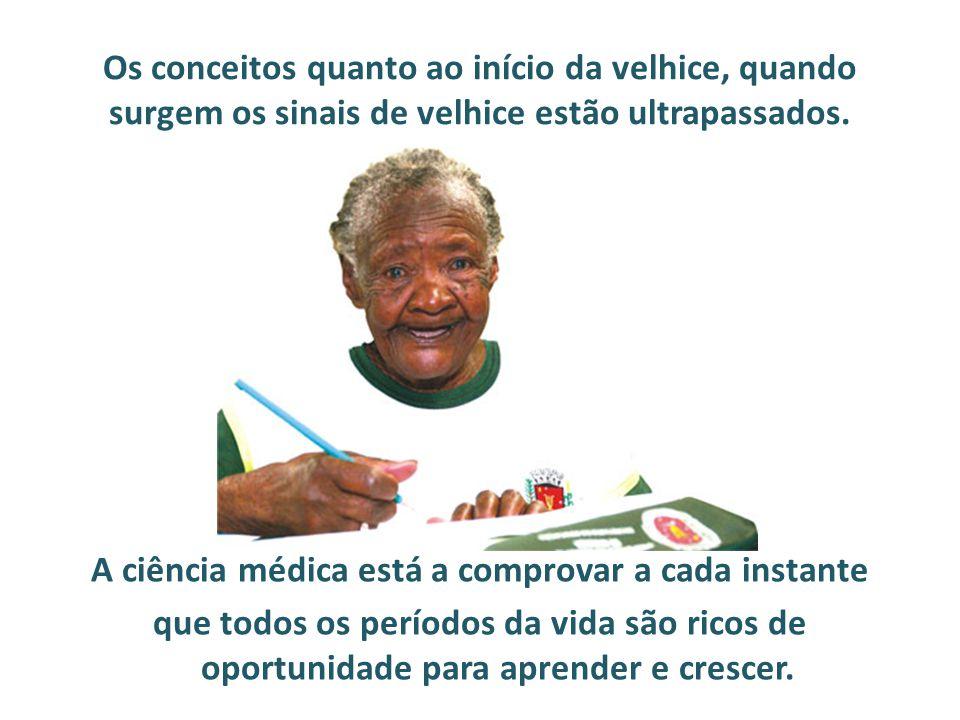 Os conceitos quanto ao início da velhice, quando surgem os sinais de velhice estão ultrapassados.