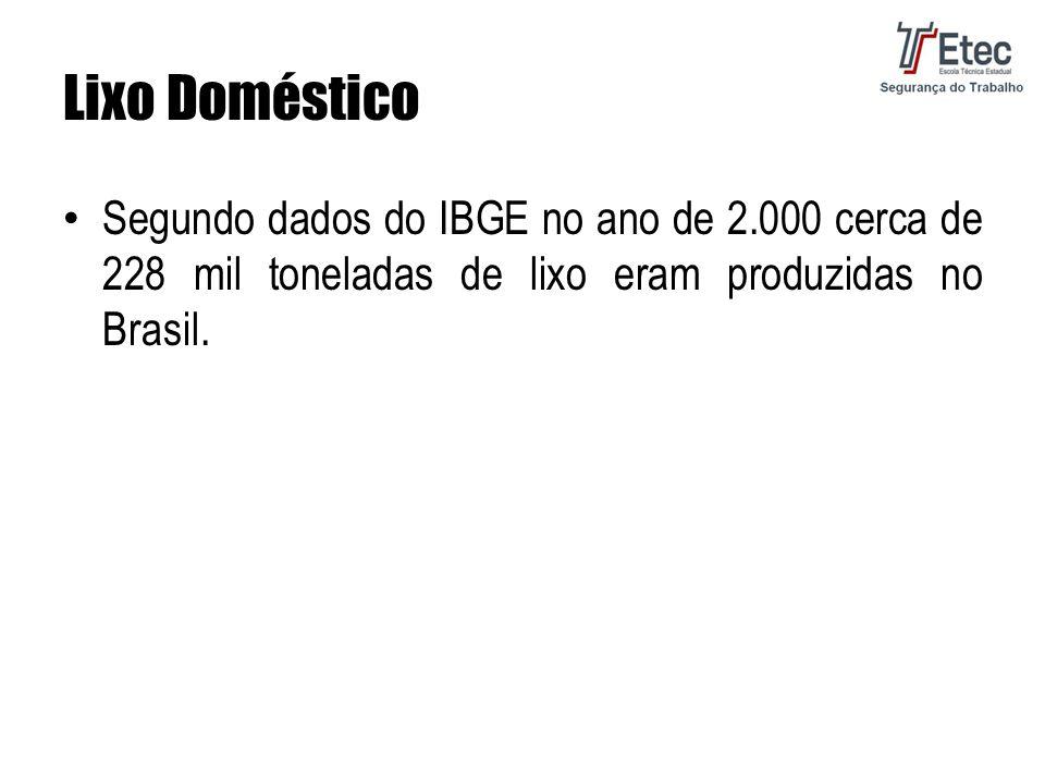 Lixo Doméstico Segundo dados do IBGE no ano de 2.000 cerca de 228 mil toneladas de lixo eram produzidas no Brasil.
