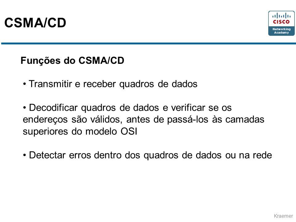 CSMA/CD Funções do CSMA/CD Transmitir e receber quadros de dados