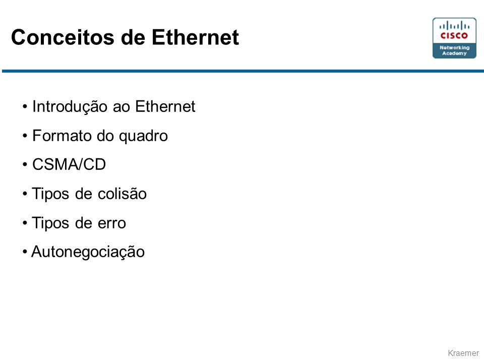Conceitos de Ethernet Introdução ao Ethernet Formato do quadro CSMA/CD