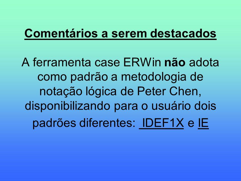 Comentários a serem destacados A ferramenta case ERWin não adota como padrão a metodologia de notação lógica de Peter Chen, disponibilizando para o usuário dois padrões diferentes: IDEF1X e IE