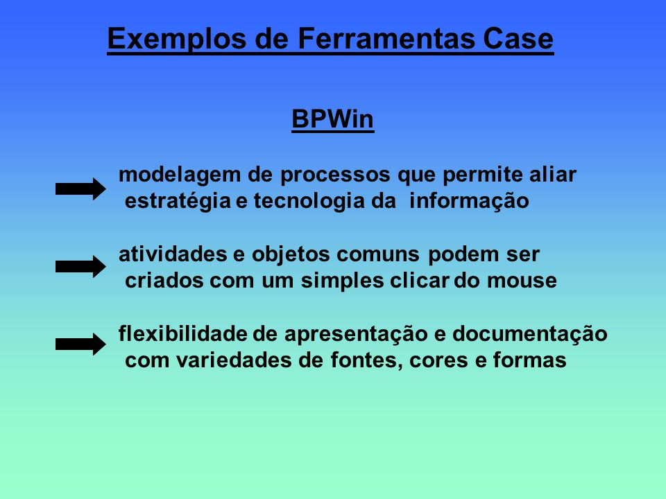 Exemplos de Ferramentas Case