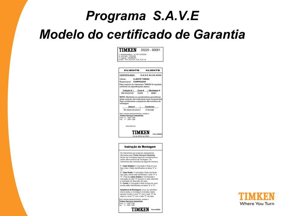 Programa S.A.V.E Modelo do certificado de Garantia