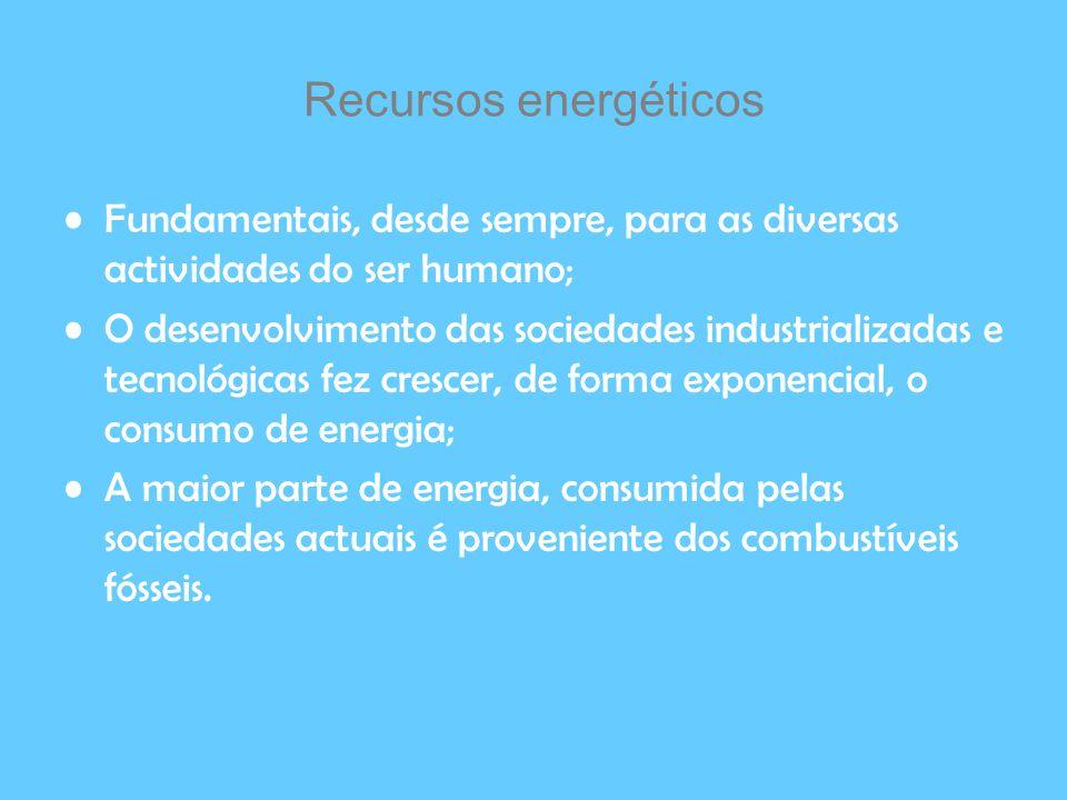 Recursos energéticos Fundamentais, desde sempre, para as diversas actividades do ser humano;