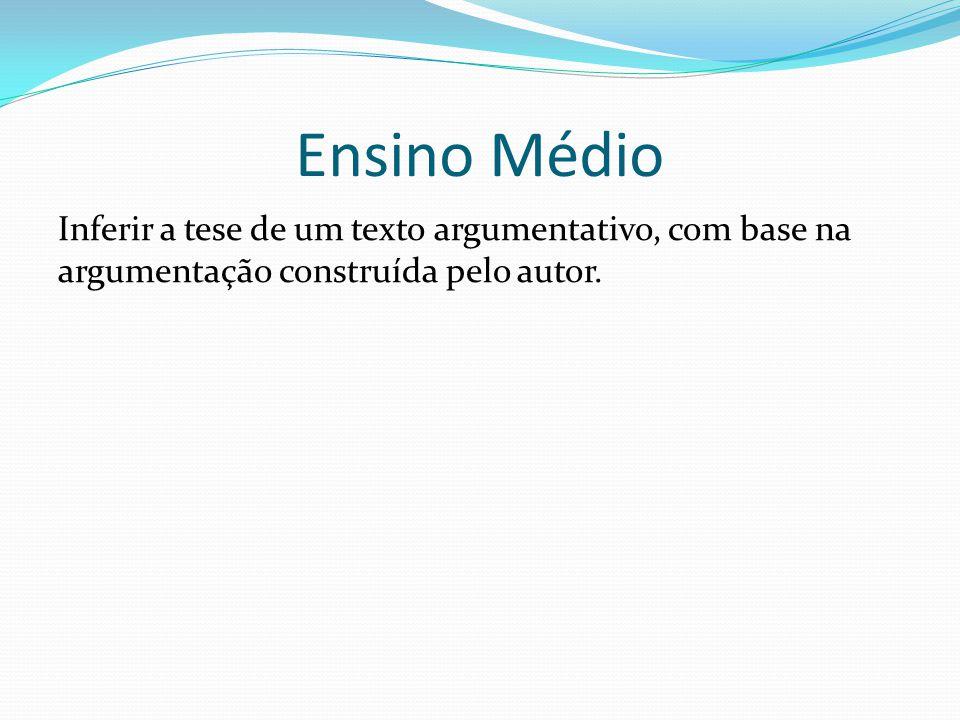 Ensino Médio Inferir a tese de um texto argumentativo, com base na argumentação construída pelo autor.