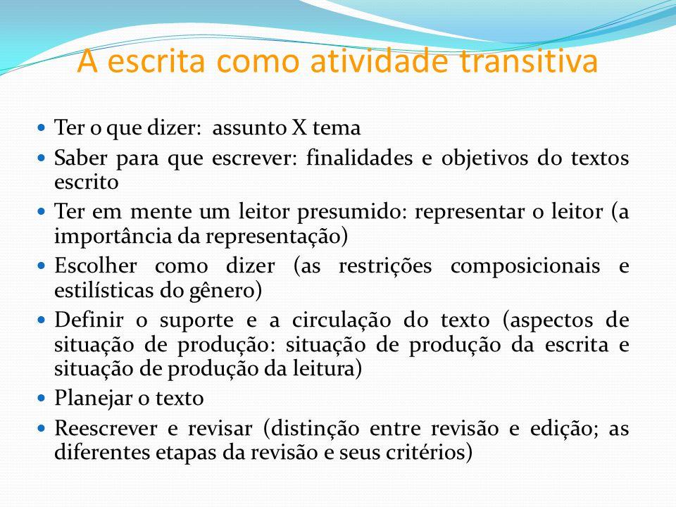 A escrita como atividade transitiva