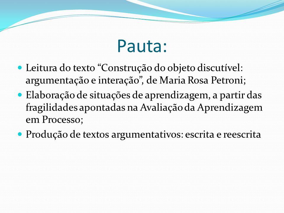 Pauta: Leitura do texto Construção do objeto discutível: argumentação e interação , de Maria Rosa Petroni;