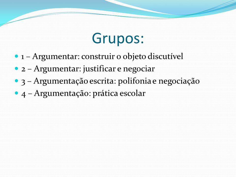 Grupos: 1 – Argumentar: construir o objeto discutível