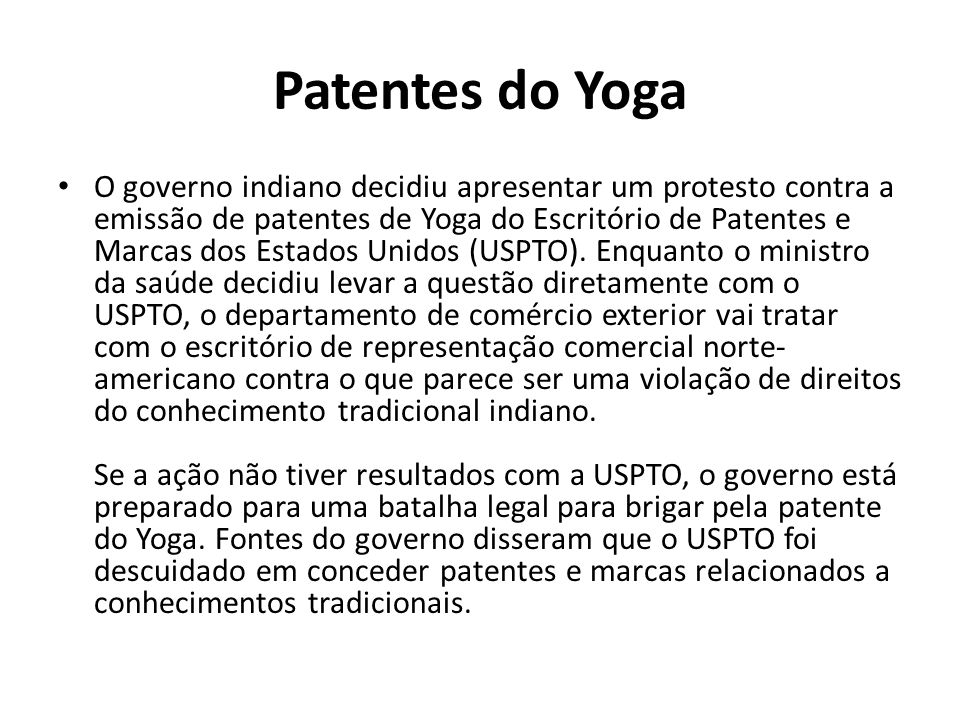 Patentes do Yoga