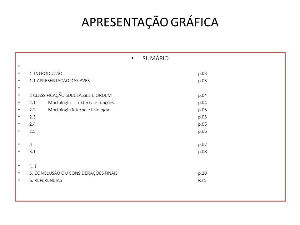 APRESENTAÇÃO GRÁFICA SUMÁRIO 1 INTRODUÇÃO p.03