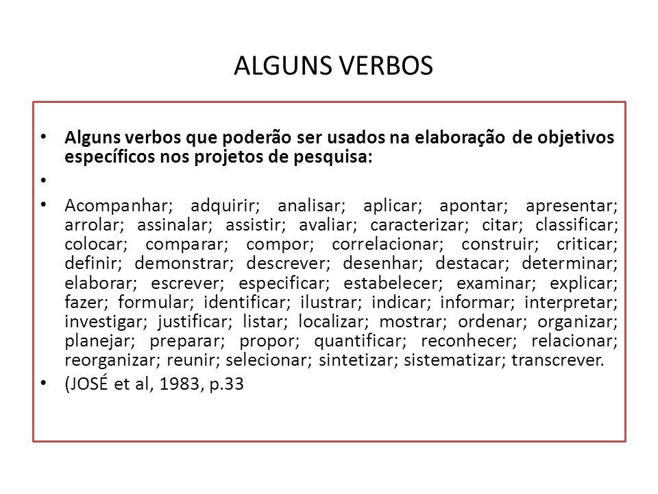 ALGUNS VERBOS Alguns verbos que poderão ser usados na elaboração de objetivos específicos nos projetos de pesquisa: