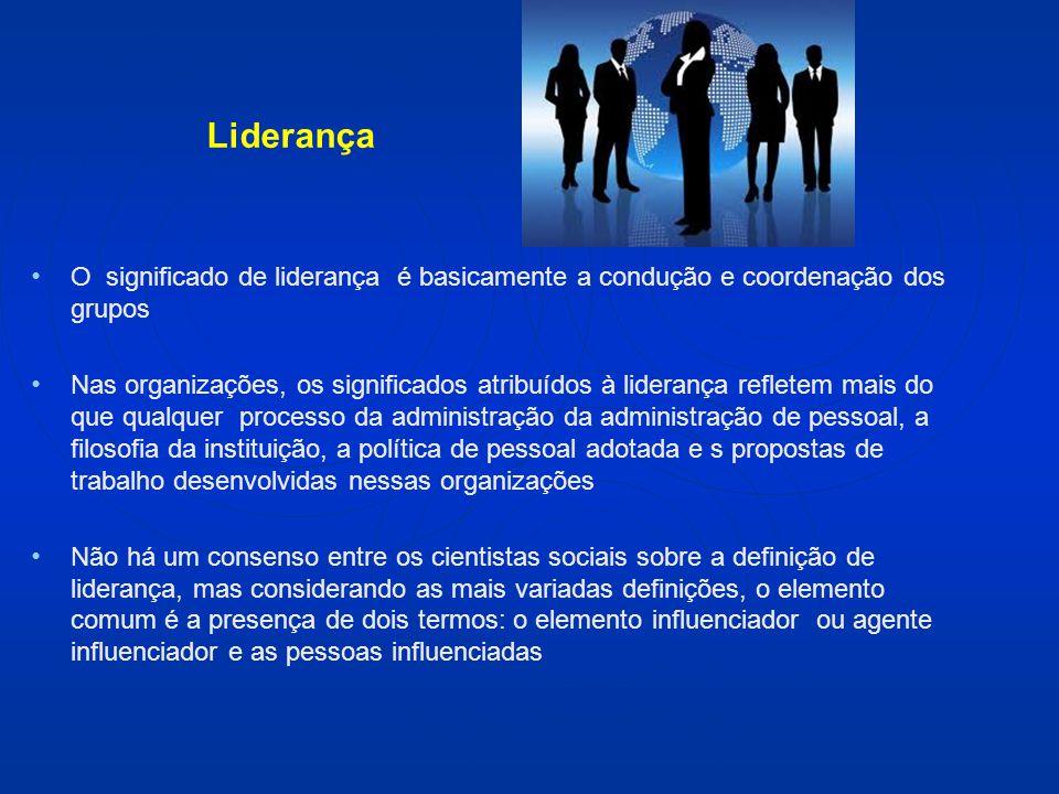 Liderança O significado de liderança é basicamente a condução e coordenação dos grupos.