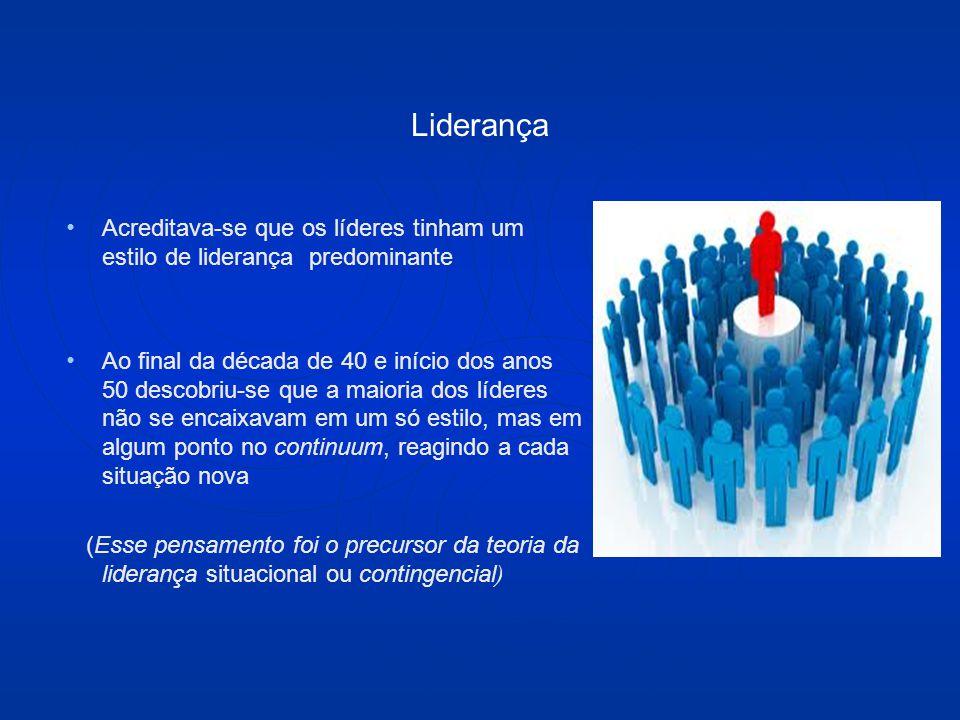 Liderança Acreditava-se que os líderes tinham um estilo de liderança predominante.