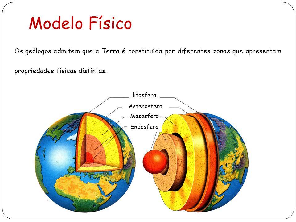 Modelo Físico Os geólogos admitem que a Terra é constituída por diferentes zonas que apresentam propriedades físicas distintas.