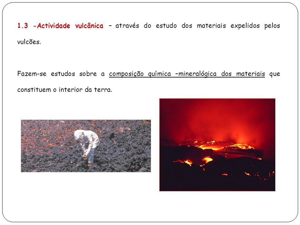 1.3 -Actividade vulcânica – através do estudo dos materiais expelidos pelos vulcões.