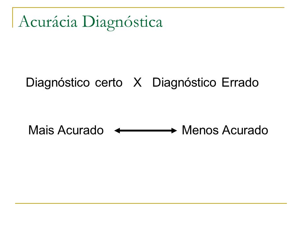 Acurácia Diagnóstica Diagnóstico certo X Diagnóstico Errado