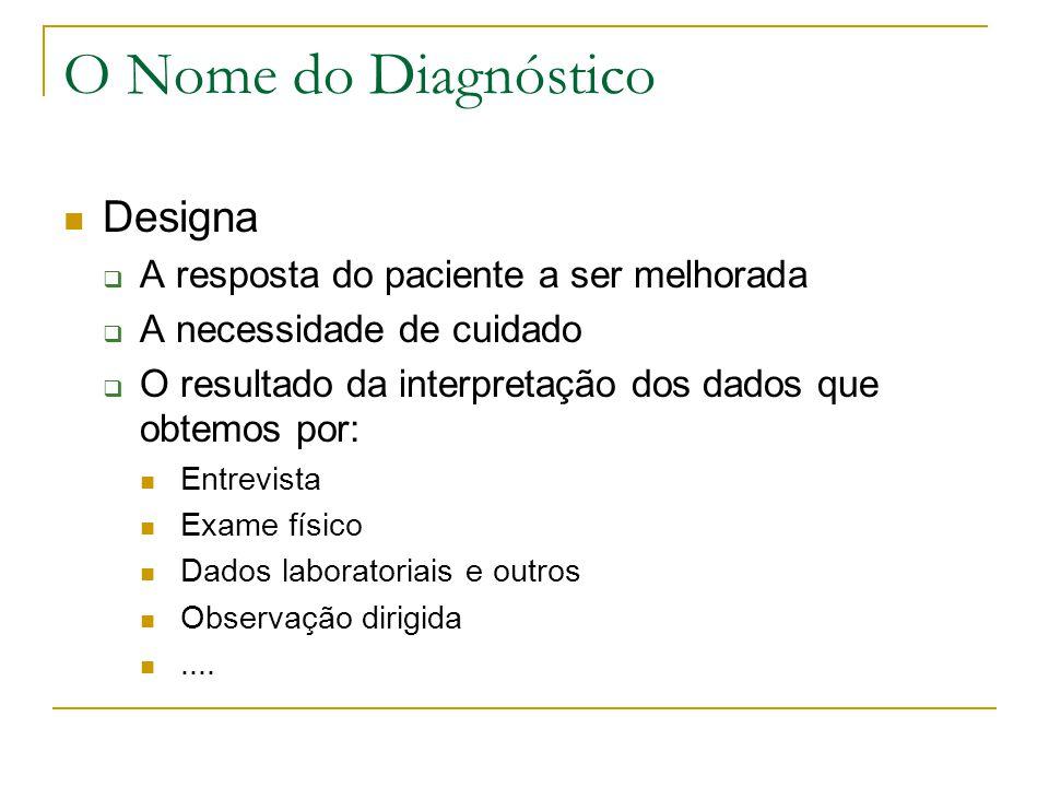 O Nome do Diagnóstico Designa A resposta do paciente a ser melhorada