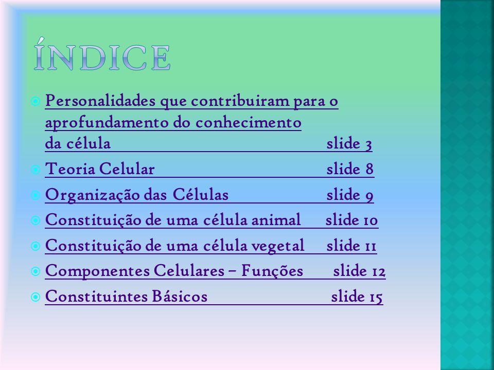 Índice Personalidades que contribuiram para o aprofundamento do conhecimento da célula slide 3.
