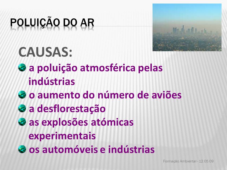 CAUSAS: Poluição do ar a poluição atmosférica pelas indústrias