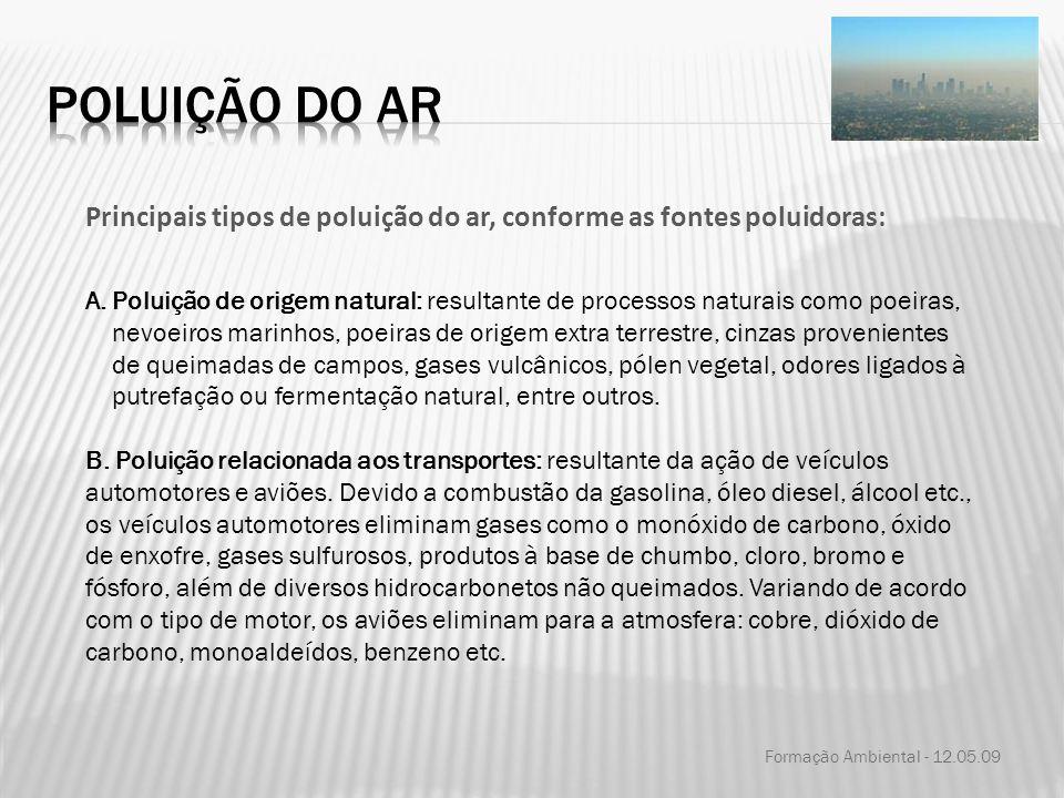 Poluição do ar Principais tipos de poluição do ar, conforme as fontes poluidoras: