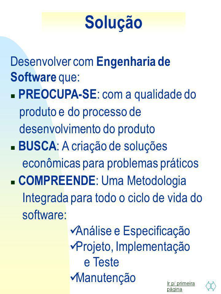 Solução Desenvolver com Engenharia de Software que: